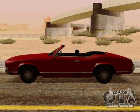 Sabre Conversível para GTA San Andreas esquerda vista