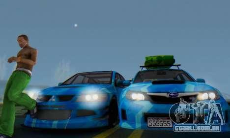 Subaru Impreza Blue Star para GTA San Andreas vista interior