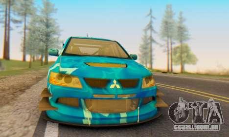 Mitsubishi Lancer Evolution IIIX Blue Star para GTA San Andreas vista direita