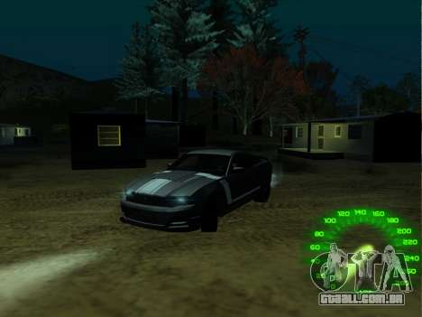 O velocímetro no estilo de neon para GTA San Andreas segunda tela