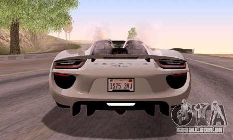 Porsche 918 2013 para GTA San Andreas vista superior