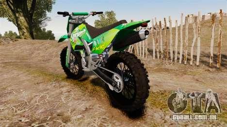 GTA V Maibatsu Sanchez wheels v1 para GTA 4 traseira esquerda vista