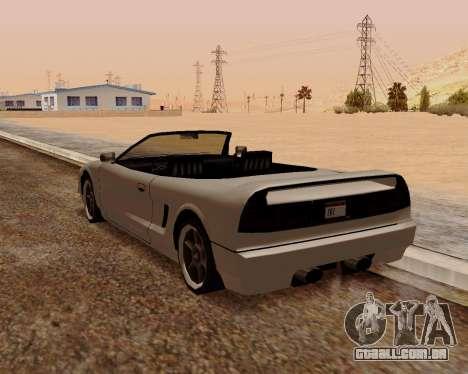 Infernus Conversível para GTA San Andreas traseira esquerda vista