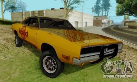 Dodge Charger 1969 Hard Rock Cafe para GTA San Andreas vista direita
