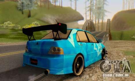 Mitsubishi Lancer Evolution IIIX Blue Star para GTA San Andreas vista traseira