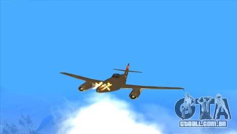 Messerschmitt Me.262 Schwalbe para GTA San Andreas vista superior