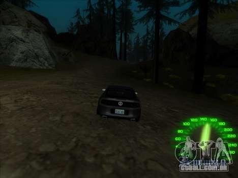 O velocímetro no estilo de neon para GTA San Andreas por diante tela