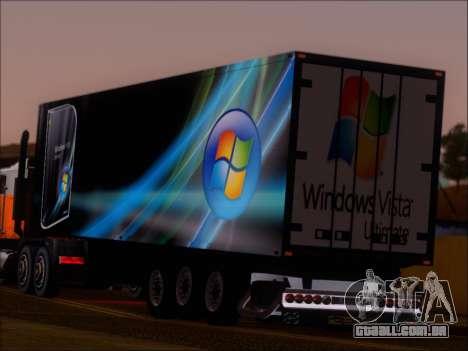 Прицеп Windows Vista Ultimate para GTA San Andreas traseira esquerda vista
