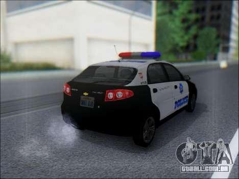 Chevrolet Lacetti Police para GTA San Andreas vista direita