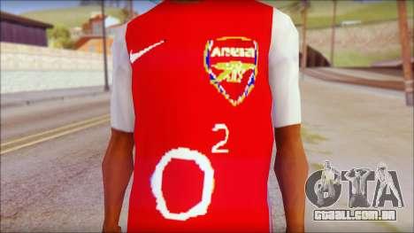 Arsenal Shirt para GTA San Andreas terceira tela