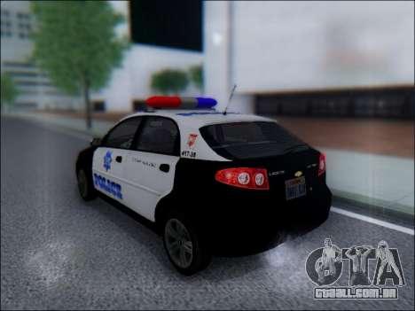 Chevrolet Lacetti Police para GTA San Andreas traseira esquerda vista