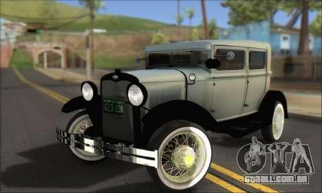 Ford A 1930 para GTA San Andreas vista inferior