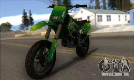 Sanchez from GTA V - Supermoto para GTA San Andreas esquerda vista