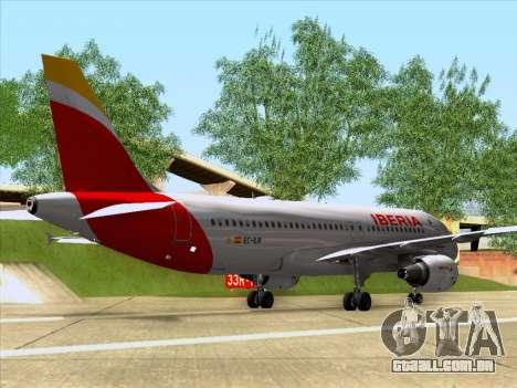 Airbus A320-214 Iberia para GTA San Andreas traseira esquerda vista