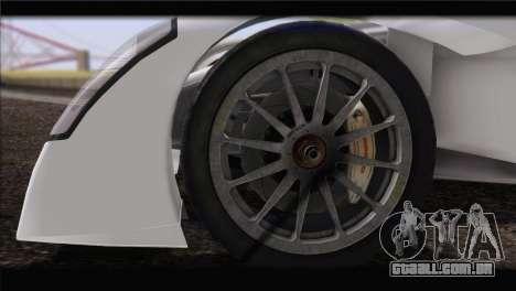 Caparo T1 2012 para GTA San Andreas traseira esquerda vista