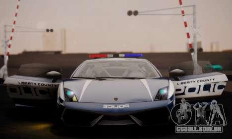Lamborghini Gallardo LP 570-4 2011 Police v2 para GTA San Andreas vista superior