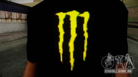 Monster Energy Shirt Black para GTA San Andreas terceira tela