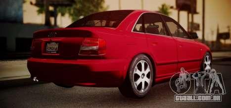 Audi S4 Stock 2000 para GTA San Andreas traseira esquerda vista