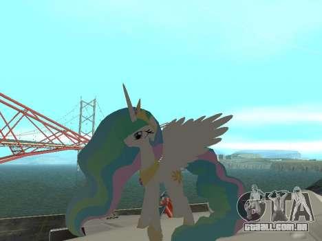 Princess Celestia para GTA San Andreas segunda tela