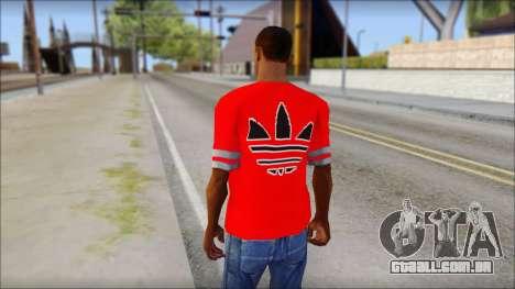T-Shirt Adidas Red para GTA San Andreas segunda tela