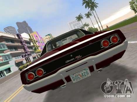 Dodge Charger RT 426 1968 para GTA Vice City vista traseira esquerda