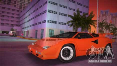 Lamborghini Countach LP5000 QV TT Custom para GTA Vice City vista traseira esquerda