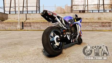 Yamaha YZF-R1 PJ1 para GTA 4 traseira esquerda vista