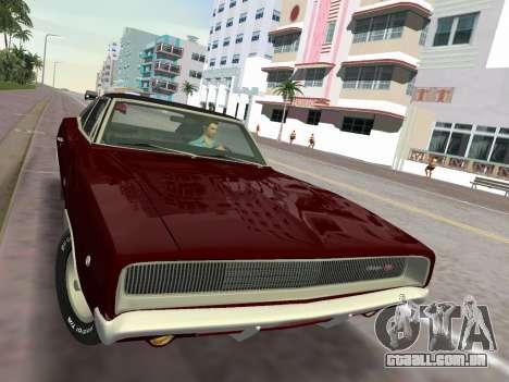 Dodge Charger RT 426 1968 para GTA Vice City vista traseira