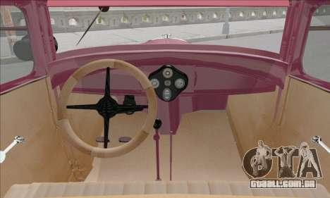Ford A 1930 para GTA San Andreas vista interior