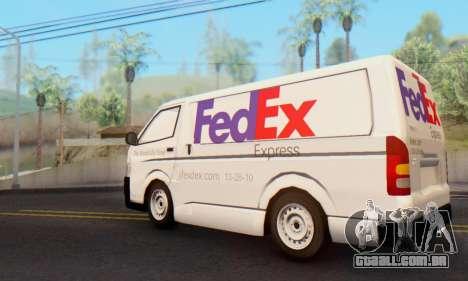 Toyota Hiace FedEx Cargo Van 2006 para GTA San Andreas esquerda vista