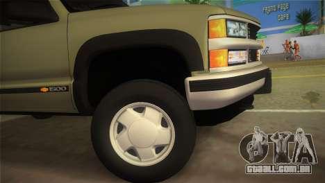 Chevrolet Suburban 1996 GMT400 para GTA Vice City vista traseira esquerda