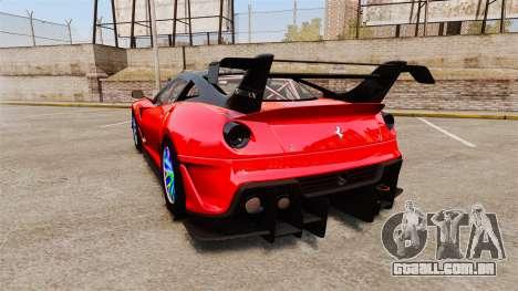 Ferrari F599 XX Evoluzione Simple CarbonFiber para GTA 4 traseira esquerda vista