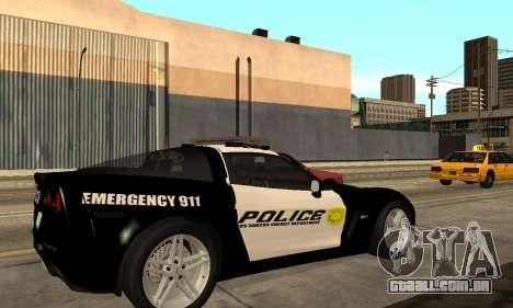 Chevrolet Corvette Z06 Los Santos Sheriff Dept para GTA San Andreas esquerda vista