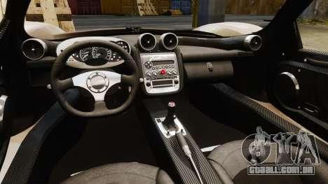 Pagani Zonda C12S Roadster 2001 v1.1 para GTA 4 vista interior