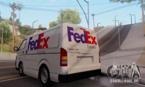 Toyota Hiace FedEx Cargo Van 2006 para GTA San Andreas vista direita