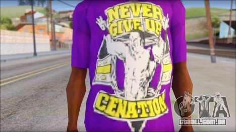 John Cena Purple T-Shirt para GTA San Andreas terceira tela