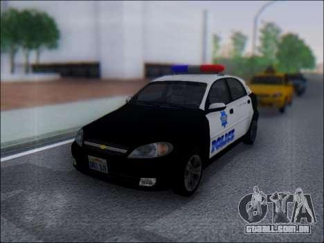 Chevrolet Lacetti Police para GTA San Andreas esquerda vista