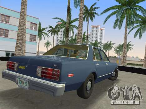 Dodge Aspen 1979 para GTA Vice City vista traseira esquerda