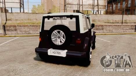 Troller T4 para GTA 4 traseira esquerda vista