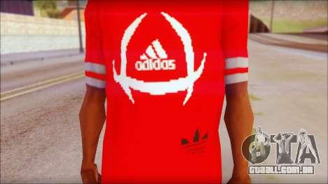 T-Shirt Adidas Red para GTA San Andreas terceira tela