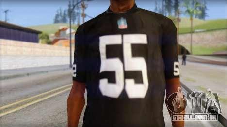 Oakland Raiders 55 McClain Black T-Shirt para GTA San Andreas terceira tela