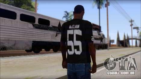 Oakland Raiders 55 McClain Black T-Shirt para GTA San Andreas segunda tela