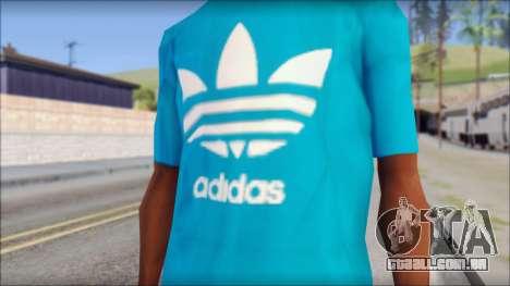 Blue Adidas Shirt para GTA San Andreas terceira tela