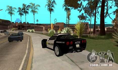 Chevrolet Corvette Z06 Los Santos Sheriff Dept para GTA San Andreas traseira esquerda vista