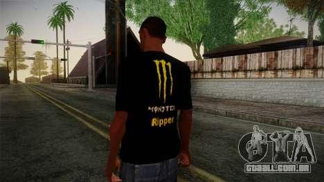 Monster Energy Shirt Black para GTA San Andreas segunda tela