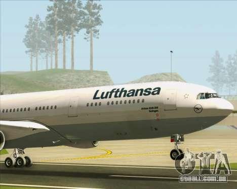 Airbus A340-313 Lufthansa para GTA San Andreas vista superior
