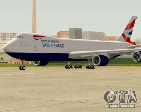 Boeing 747-8 Cargo British Airways World Cargo para GTA San Andreas vista interior