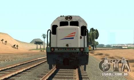 GE U18C CC 201 Indonesian Locomotive para GTA San Andreas traseira esquerda vista