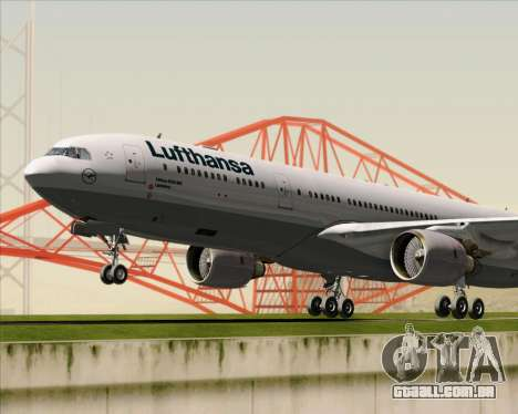 Airbus A330-300 Lufthansa para GTA San Andreas vista superior