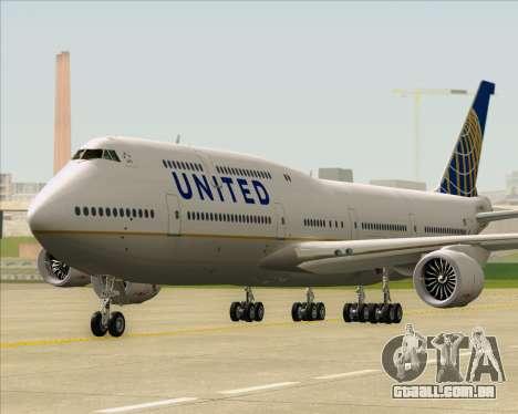 Boeing 747-8 Intercontinental United Airlines para GTA San Andreas traseira esquerda vista